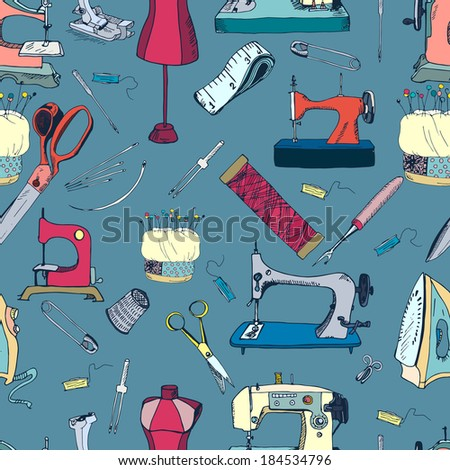 Sewing Tools Vintage Seamless Pattern Stock Vector