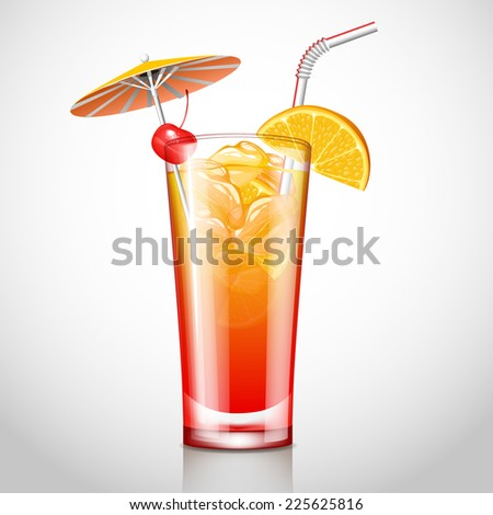sex on the beach cocktail - stock vector