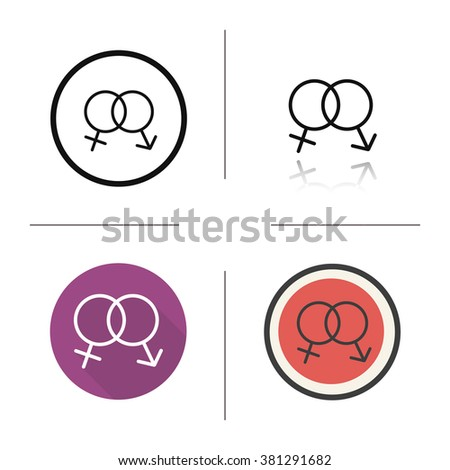 Sex symbol flat design, linear and color icons set. Heterosexual couple love and sex sign. Long shadow logo concept. Sex and relationships symbol. Isolated vector illustrations. Infographic elements - stock vector