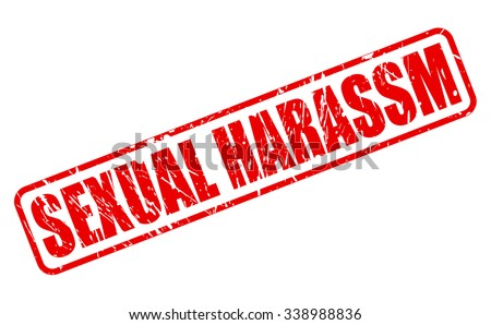 SEXUAL HARASSM red stamp text on white - stock vector