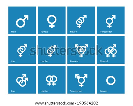 Sexual orientation icons on blue background. Vector illustration. - stock vector