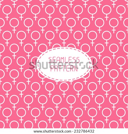Sexual orientation web icons,symbol,sign in flat style. Gender background. Female combination. Vector seamless pattern. Venus signs. - stock vector