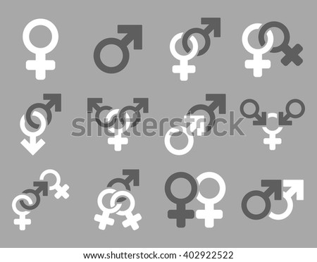 Sexual Relation Symbols vector icon set. Style is bicolor dark gray and white flat symbols isolated on a silver background. - stock vector