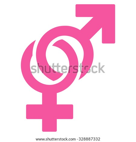Sexual Symbols vector icon. Style is flat symbol, pink color, rounded angles, white background.