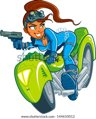 Sexy Action Hero Spy Girl with Gun in Motorcycle Car Chase - stock vector