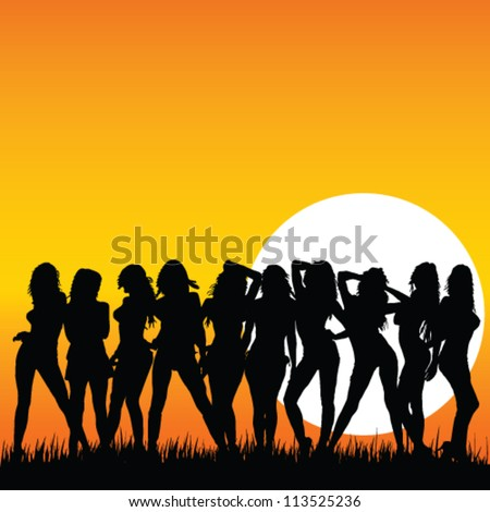 sexy and beauty girls and sunset vector illustration on a color background