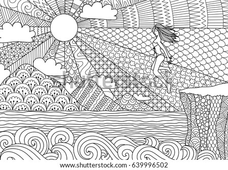 sexy bikini girl jump over the cliff to the beautiful ocean for illustration adult coloring