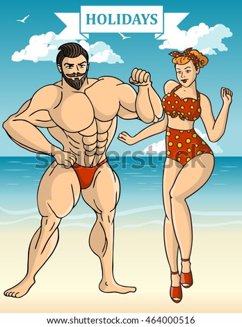 Sexy couple. Characters collection on the beach background. Vector illustration.