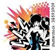 Sexy DJ With Vinyl - stock vector