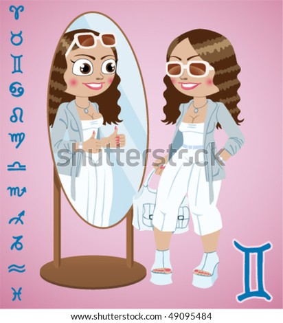 Sexy fashion girl - a sign of the zodiac Gemini (Twins) - stock vector