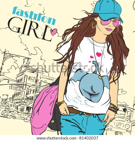 Sexy fashion girl in sketch style on a city-background. Place for your text. - stock vector