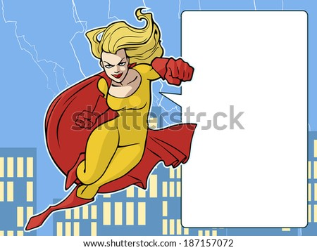 Sexy female superhero flying forward in a bright costume with cape - stock vector