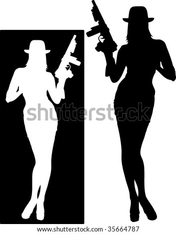 sexy gangster - stock vector