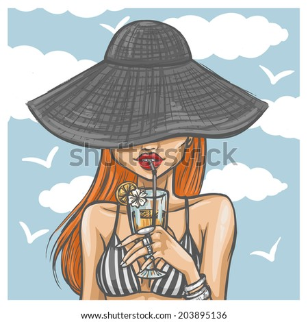 Sexy girl in hat drinks a cocktail - stock vector