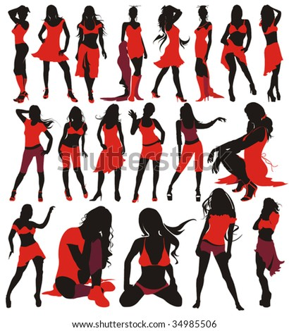 Sexy girls group elegance silhouettes, set of fashion Women Collection - 19 figures. - stock vector