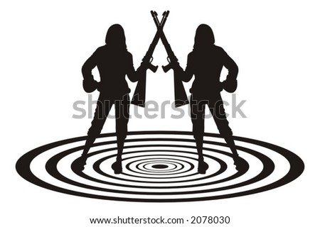 sexy girls with guns, standing on the symbolic target - vector art