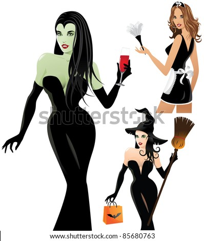 Sexy Halloween Costumes A trio of sexy women dressed as a witch, vampiress and French maid. EPS 8 vector is grouped for easy editing, with no open shapes, strokes or transparencies. - stock vector
