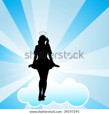 Sexy lady dancing around on a cloud representing an angel - stock vector
