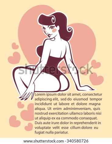 sexy pinup girl on beige background, vector greeting card