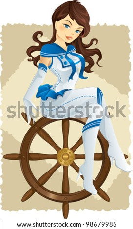 Sexy pinup sailor girl on a helm - stock vector