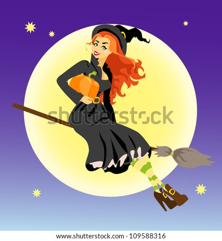 Sexy red hair witch with pumpkin flying on a broom, Halloween background - stock vector