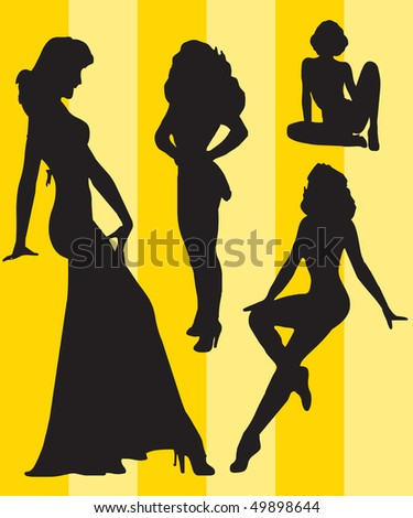 Sexy silhouettes theme - stock vector