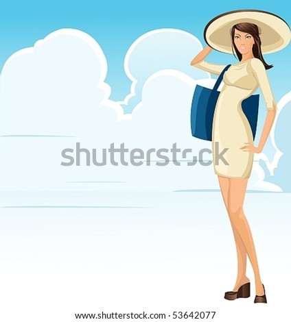 sexy summer girl.A good opportunity for the location of the text - stock vector