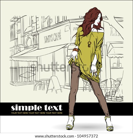 Sexy summer girl in sketch-style on a street cafe background. Vector illustration - stock vector