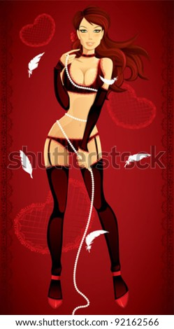 Sexy valentine pinup girl - Sexy valentine pin-up woman in lingerie
