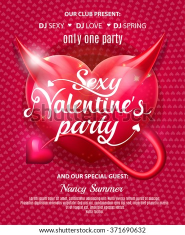 Sexy Valentines Day Party Flyer. Vector illustration EPS10 - stock vector