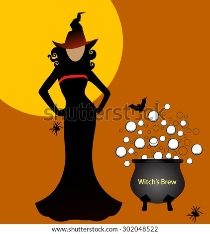 Sexy witch with brew - stock vector