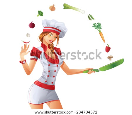 Sexy woman cooking - stock vector