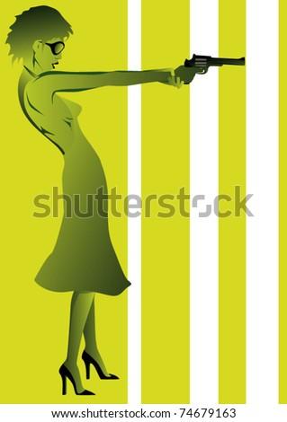 sexy woman holding gun - stock vector