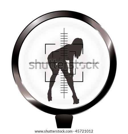 Sexy woman in rifle target and sight in silhouette - stock vector