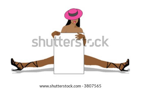 sexy woman (isolated on white) with blank poster for your label or frame - stock vector