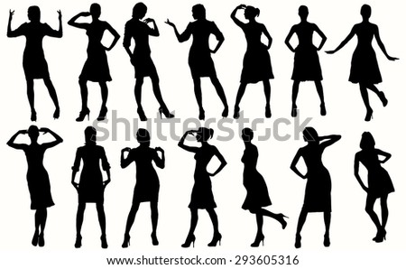 Sexy women and model posing silhouettes