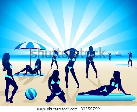 Sexy Women on the beach - Vector - stock vector