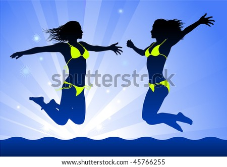 Sexy Young Women on Night Background Original Vector Illustration - stock vector