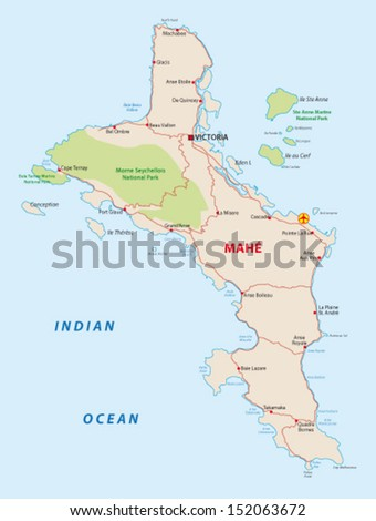 Seychelles Mahe Map Stock Vector 152063672 Shutterstock