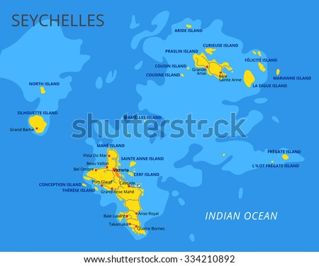 Seychelles Political Map Capital Victoria Important Stock Vector