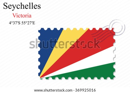 seychelles stamp design over stripy background, abstract vector art illustration, image contains transparency