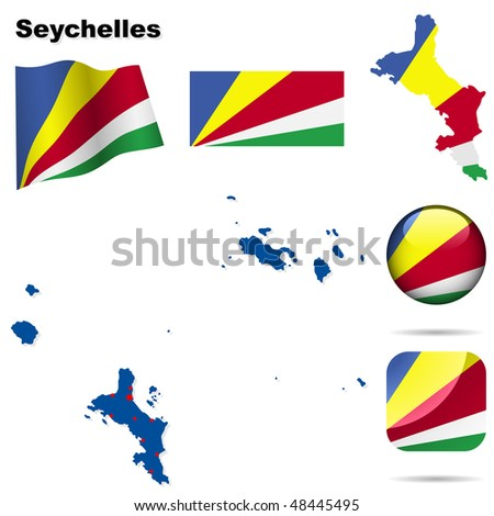 Seychelles vector set. Detailed country shape with region borders, flags and icons isolated on white background. - stock vector