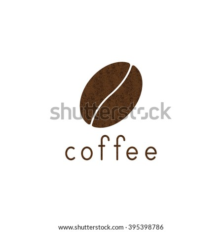 Shabby brown colored coffee bean and lettering coffee isolated on white background. Logo template, design element, menu decoration
