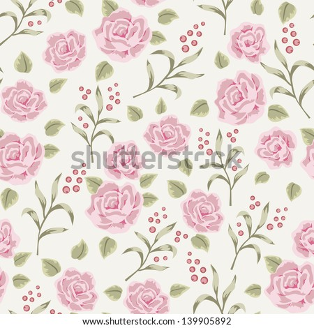 Shabby chic rose pattern. Floral seamless background with flower and berry - stock vector