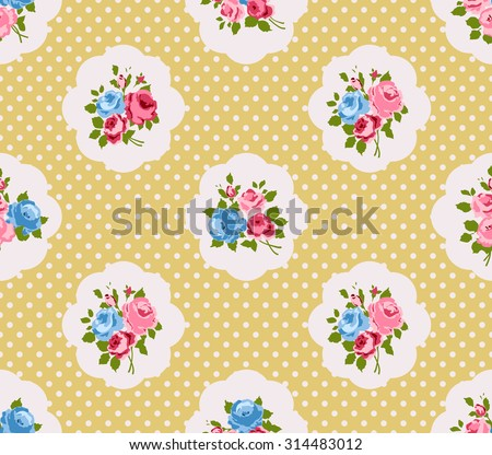 Shabby chic roses seamless pattern, classic floral background