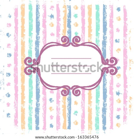 Shabby stripes background with hand drawn frame in tender pastel tones - stock vector