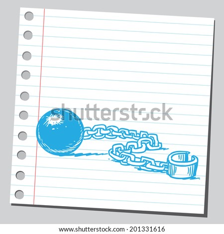 Shackle and prison chain - stock vector