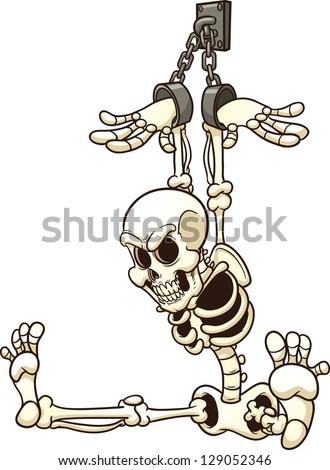 Shackled Skeleton Vector Clip Art Illustration With
