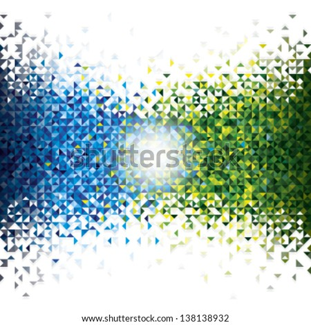 Shades of blue and green triangles are mutually interfere, illuminated by light. - stock vector