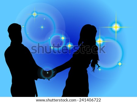 Shadow couple and rings on a blue background vector.  - stock vector